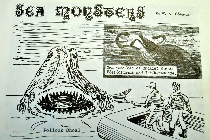 """A drawing by the late Keith Ross of what the South Side Sea Monster looked like. """"My father was no artist, but it did look something like that,"""" said  Rodney Ross."""