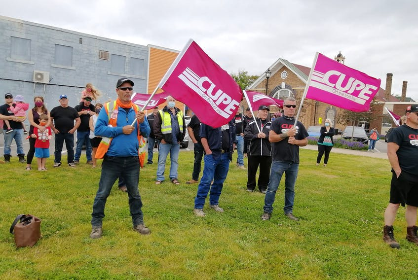 Unionized municipal workers in Grand Falls-Windsor rallied Wednesday after voting 99 per cent in favour of a strike. — Facebook/CUPE 1349