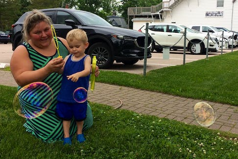 Any day is good day to stop and play with bubbles. While visiting the Sydney area, Antigonish County mom Kari Guthro and her two-year-old son Tegan, found a grassy spot to sit and let the bubbles float freely much to the squealing delight of Tegan. CAPE BRETON POST