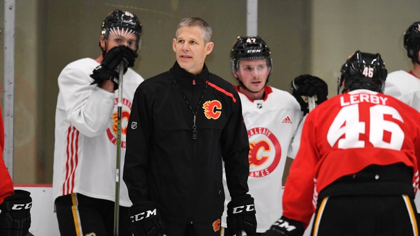 Cail MacLean leads a group of players at the 2019 Calgary Flames development camp - Calgary Flames