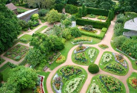 An aerial view shows the well-sculpted layout of the Victorian Garden at the Annapolis Royal Historic Gardens.