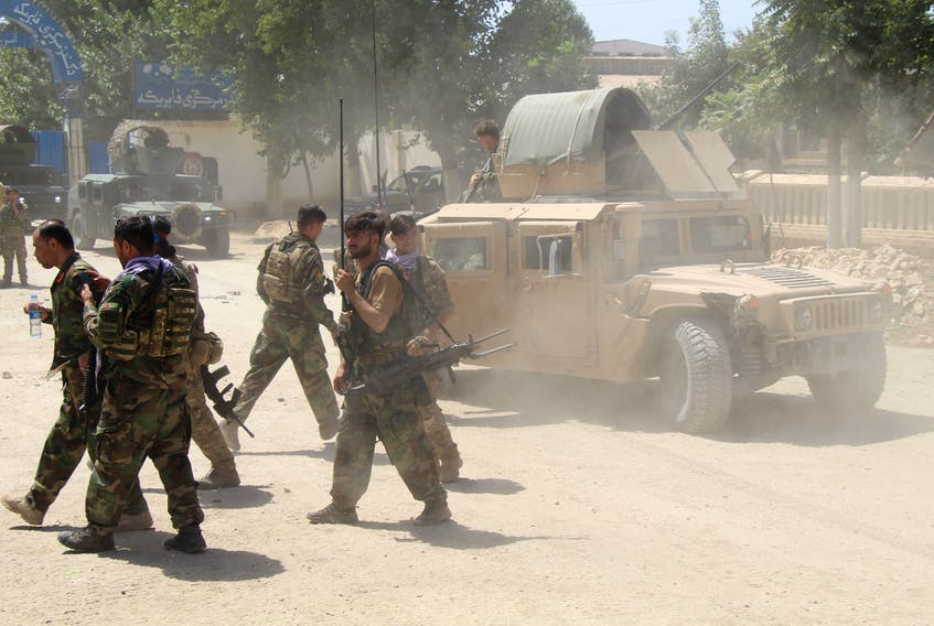 Afghan Commando forces are seen at the site of a battlefield where they clashed with the Taliban in Kunduz province, Afghanistan, June 22. With the pullout of German, Italian, British and now U.S. troops, Taliban forces are taking over more and more of the country.