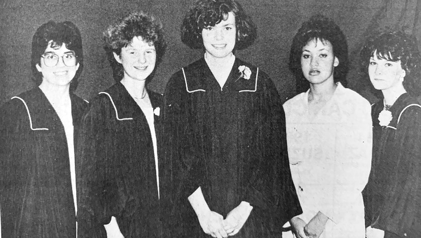 Among the top Windsor Regional High School award-winning graduates for 1986 were, Elizabeth Davies (Liberal Award), Jennifer Wilson (Staff Trophy), Diana Hamilton (Queen Elizabeth II Medal), Verna Sampson (Secretarial Award), and Kim Walker (School Board Trophy). - File Photo