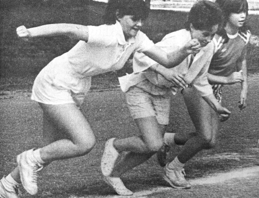 The Royal Bank Junior Olympics Field Day was held at Windsor Forks District School in June 1986. A number of sports activities were held, including 100-metre races. - File Photo