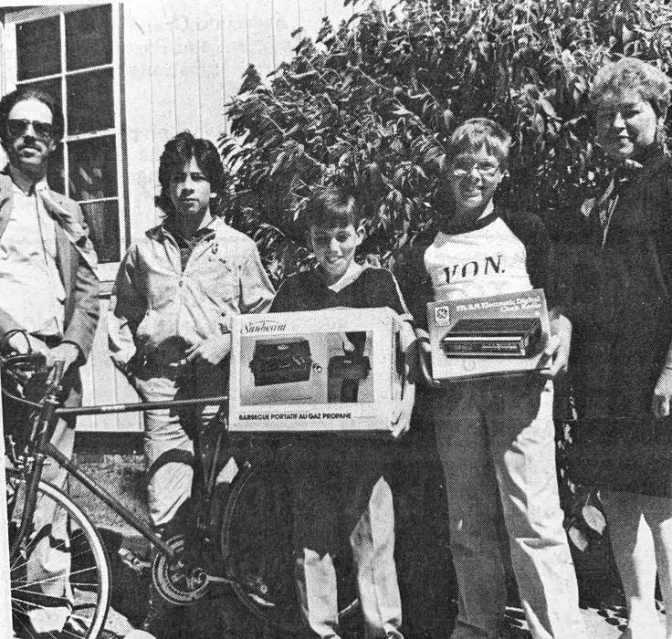 VON Walkathon participants helped raise $3,000 for the Hants County unit in 1986. Three of the top fundraisers received prizes from Chris Fry and Darlene Eldridge. The recipients were Mike Church, Tony MacLeod and Tommy Robarts. - File Photo