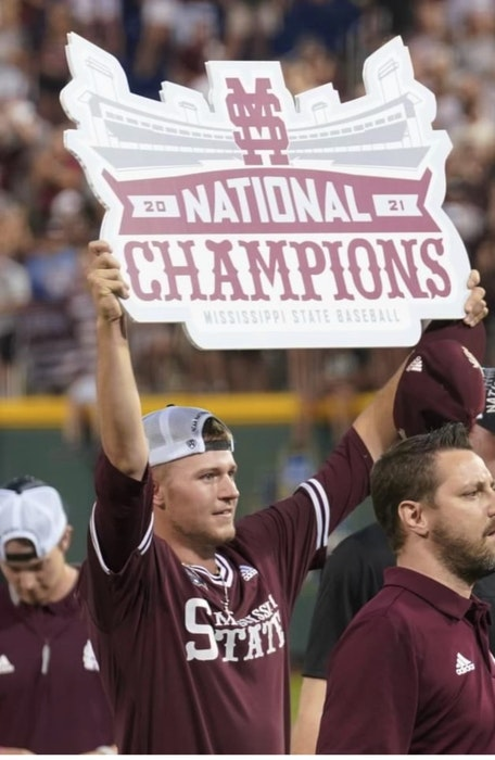 Christian MacLeod, son of Sydney native Kevin Macleod, captured the College World Series last week with the Mississippi State Bulldogs. The championship marked the university's first national title in any sport. CONTRIBUTED - Contributed