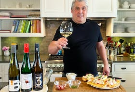 Mark DeWolf with German Riesling and Shrimp Rolls