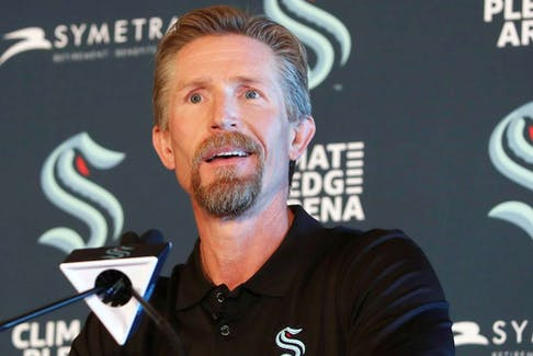 Head coach Dave Hakstol will lead his expansion Seattle Kraken club against the Vancouver Canucks in their first NHL pre-season game, on Sept. 26 in Spokane, Wash.