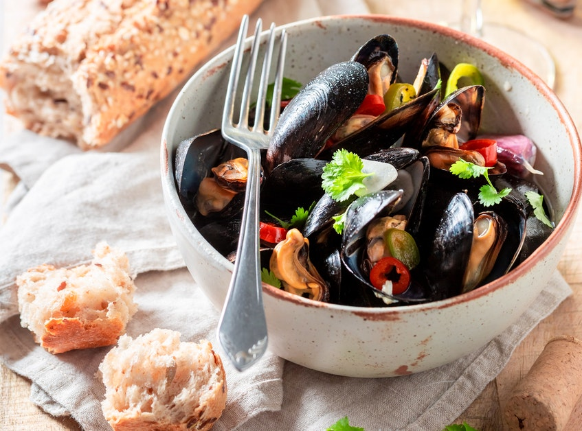 Mussels are prepared with an international twist via the inclusion of Thai-inspired spices.  - RF