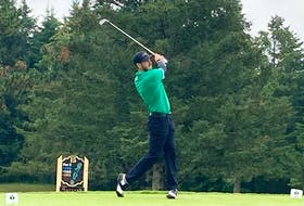 Ashburn's Brett McKinnon hits his tee shot on the par-3 15th hole at Avon Valley Golf and Country Club during Friday's first round of the Nova Scotia amateur championship. - Glenn MacDonald