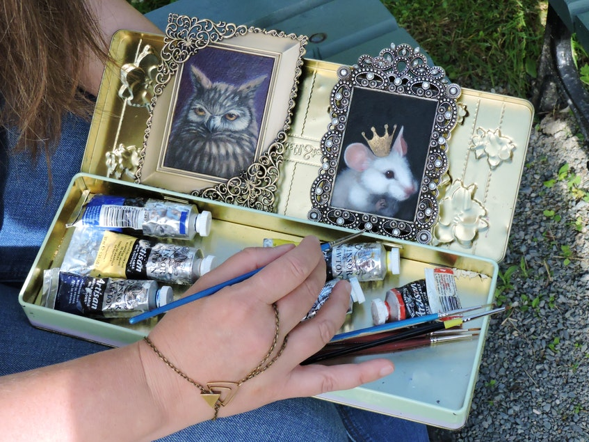 This chocolate tin was big enough to hold the paints and brushes Meaghan Smith needed to create her Mini Art Show portraits as she toured around North America and the U.K. with her husband/guitarist Jason Mingo. - Stephen Cooke