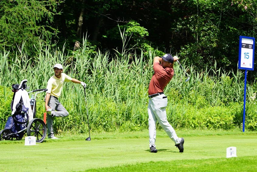 Blair, shown teeing off at the 15th hole at the Club de Golf Le Blainvillier in Blainville, Que., finished tied fior fourth in the first event of the 2021 Mackenzie Tour season. — Mackenzie Tour