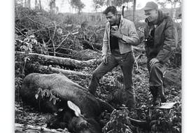 In this photo by renowned photographer Richard Friske, musician Johnny Cash (left) and his hunting guide, wildlife officer Heman Whalen, are shown at Victoria Lake in Newfoundland during a moose-hunting trip on Oct. 11, 1961. Cash made a 200-yard shot to get the 500-pound moose, which he wanted for food. The meat was later packaged in Grand Falls-Windsor and sent to him.