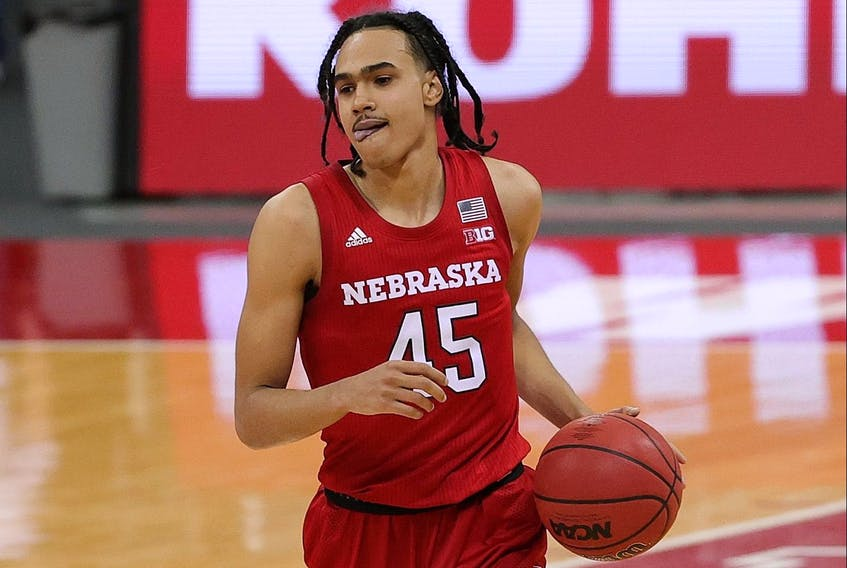 Dalano Banton of the Nebraska Cornhuskers handles the ball during a game against the Wisconsin Badgers at Kohl Center on December 22, 2020 in Madison, Wisconsin.