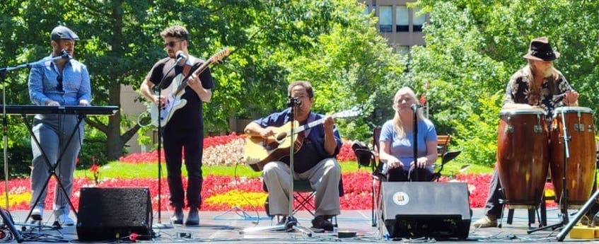 Scott Parsons, centre, plays with his band at Rochford Square for Emancipation Day. Parsons was the founding president of the Black Cultural Society of P.E.I. - Logan MacLean