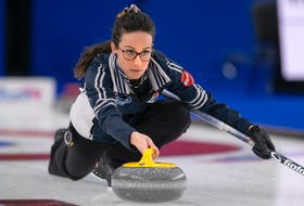 Mayflower skip Jill Brothers makes a shot during the 2021 Scotties Tournament of Hearts in Calgary. Brothers and her rink has earned a berth into next month's pre-Olympic trials qualification event in Ottawa. - Andrew Klaver