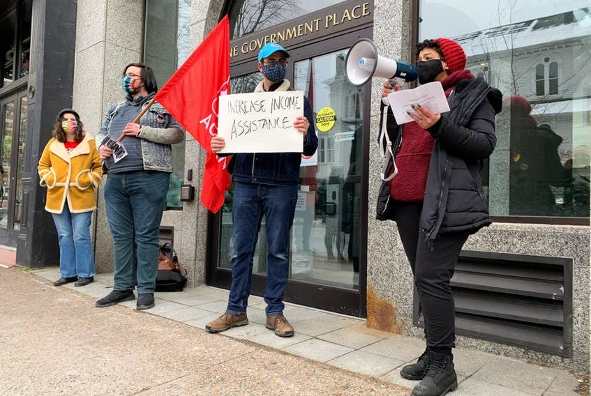 Earlier this year, nearly a dozen people rallied in front of One Government Place on Barrington Street in Halifax the demanding provincial government take action on the housing crisis in Nova Scotia. - Nicole Munro