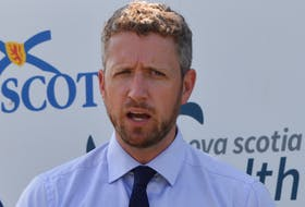 Liberal Leader Iain Rankin announces the Liberals will pay for a new PET/CT scan at the Cape Breton Regional Hospital's new cancer care centre. — IAN NATHANSON/CAPE BRETON POST