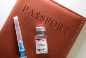 """A syringe and a vial labelled """"coronavirus disease (COVID-19) vaccine"""" are placed on a passport in this illustration taken April 27, 2021. Support for an Ontario vaccine passport is split in Windsor."""
