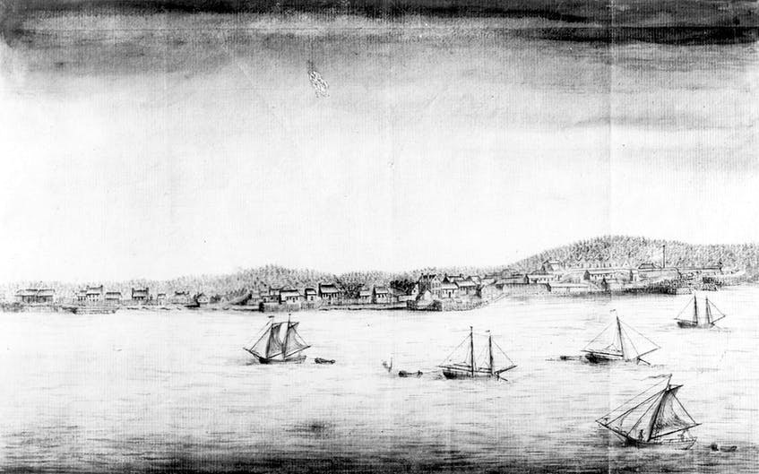 View of the Town and Fort of Annapolis Royal, Nova Scotia, Taken on the post by Capt. John Hamilton of His Majesty's 40th Regt. of Foot, circa 1753. - Nova Scotia Archives