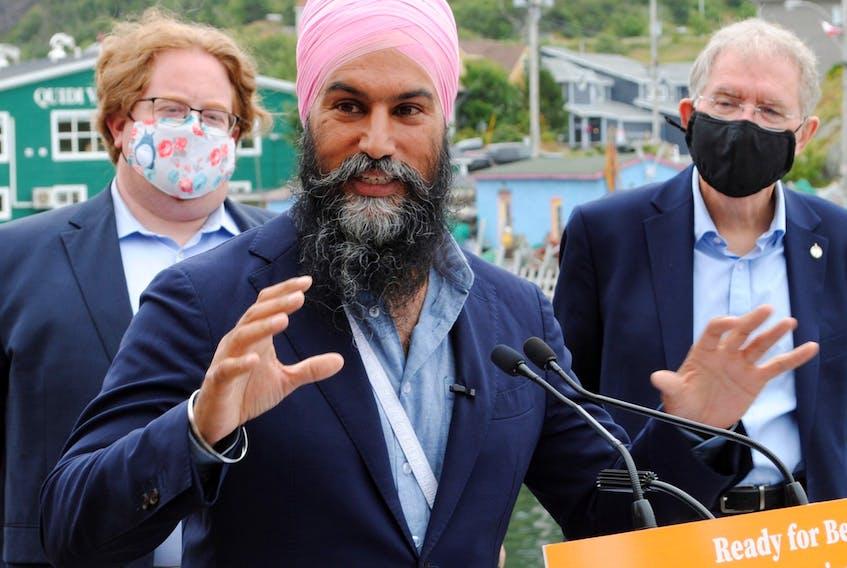 NDP Leader Jagmeet Singh makes his platform announcement in St. John's on Aug. 12, 2021.