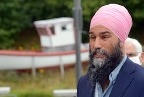 NDP Leader Jagmeet Singh speaks to reporters during a news conference at the Quidi Vidi Plantation in St. John's Thursday morning, Aug. 12. Keith Gosse • The Telegram