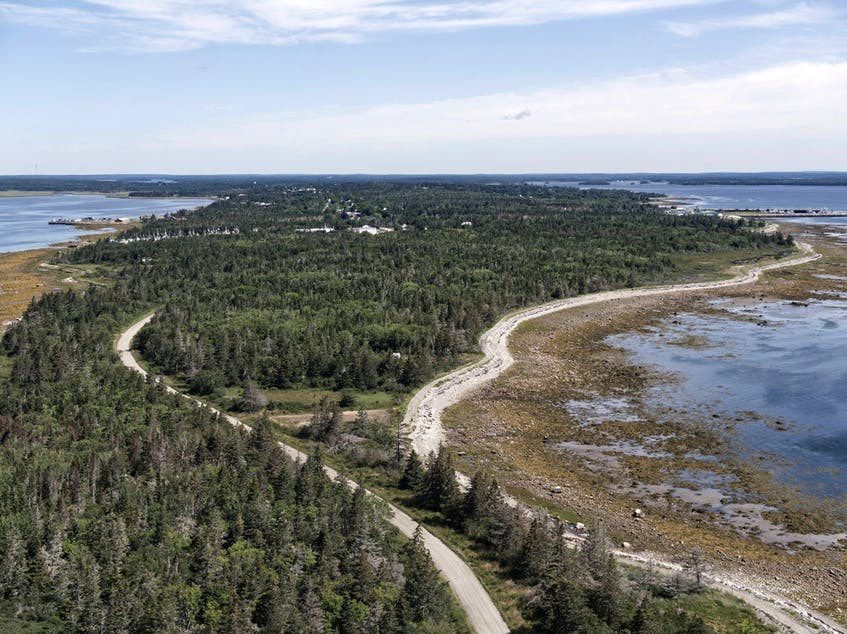 The tip of Wedgeport viewed from the sky via drone. Steve St. Clair Photo - Contributed