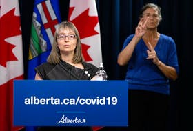 Alberta chief medical officer of health Dr. Deena Hinshaw gives a COVID-19 pandemic update from the media room at the Alberta Legislature in Edmonton, on Wednesday, July 28, 2021.