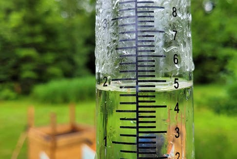 It came down in buckets! We've had some impressive downpours this summer. By 4:30 p.m. Thursday, Aug. 5, Ray Miller's rain gauge in MacPhees Corner, N.S. measured 46 mm of rain.