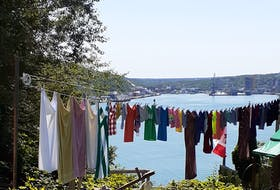 Do you do laundry on Mondays?  Pat Walsh came across this colourful clothesline on Monday, Aug. 9 at The Battery, overlooking the beautiful St. John's Harbour.    Monday as washday is a very old tradition, based on pure practicality. Before the automatic washing machines, doing laundry was an all-day task. Then drying and ironing might take most of the week (depending on the weather); the whole thing had to be out of the way by Sunday, the official day of rest.