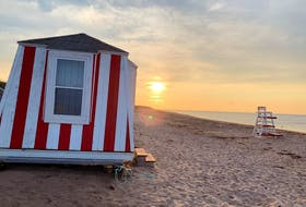 The many footprints in the sand tell the story of a busy day at the beach!  Anne Boswall watched as the sun lowered in the western sky. Stanhope Prince Edward Island National Park is home to numerous stunning summer sunsets and a refreshing breeze off the Gulf of St. Lawrence.
