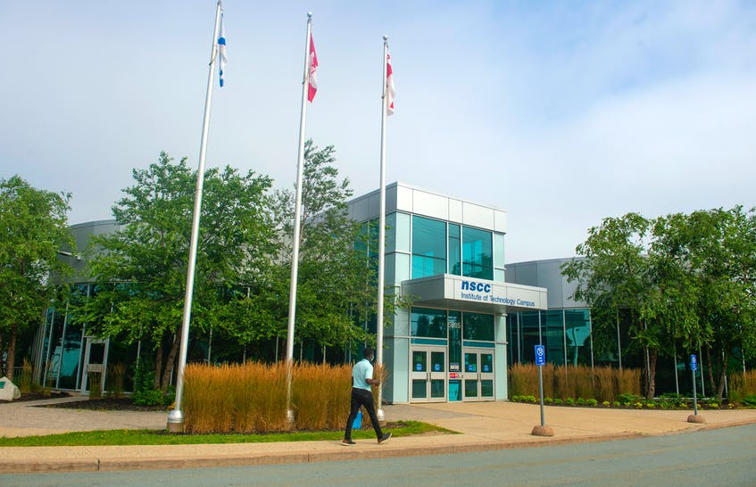 A visitor to the NSCC Institute of Technology Campus approaches the main entrance on Friday, Aug. 13, 2021. - Ryan Taplin