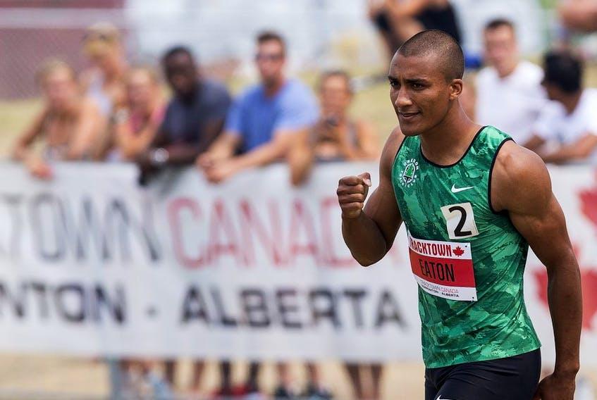 The USA's Ashton Eaton wins the Men's 110m Hurdles event during the 2015 TrackTown Classic at Foote Field at the University of Alberta in Edmonton, Alta.. on Sunday July 12, 2015. Ian Kucerak/Edmonton Sun/Postmedia Network