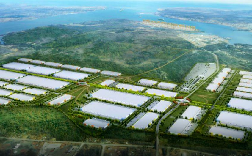 This is the conceptual image of the proposed Novazone logistics park that would support the Novaporte container terminal in Sydney harbour. Sydney Harbour Investment Partners is marketing the port internationally and says it the only thing holding back the development is a guarantee that the dormant Cape Breton Island rail line will be rehabilitated. CONTRIBUTED - Contributed