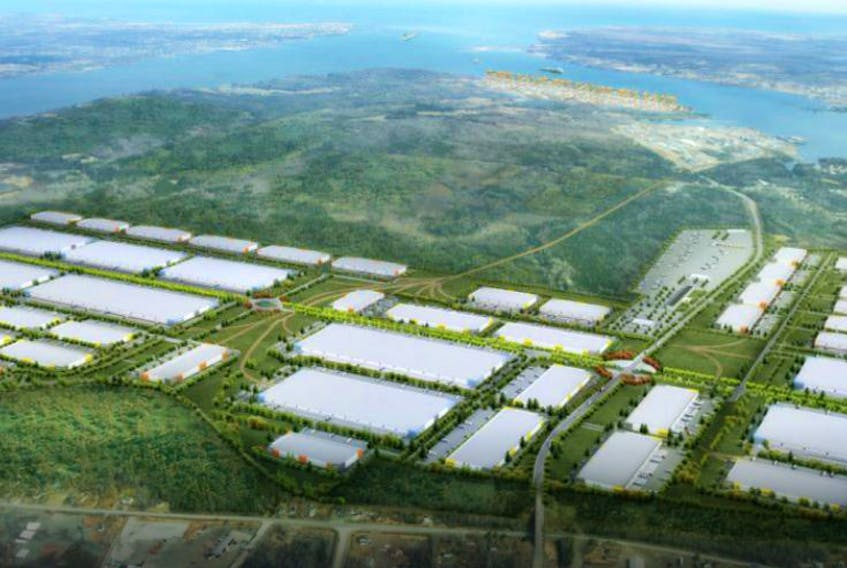 This is the conceptual image of the proposed Novazone logistics park that would support the Novaporte container terminal in Sydney harbour. Sydney Harbour Investment Partners is marketing the port internationally and says it the only thing holding back the development is a guarantee that the dormant Cape Breton Island rail line will be rehabilitated. CONTRIBUTED