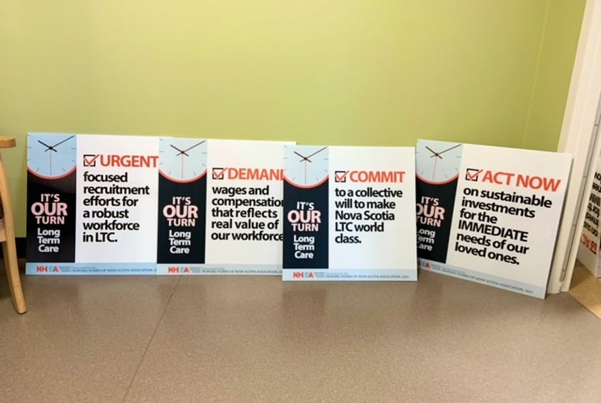 These lawn signs with messages regarding concerns facing the long-term care sector are part of the Nursing Homes of Nova Scotia Association's It's Our Turn campaign. CONTRIBUTED