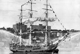 The replica of HMS Bounty, a 52-metre full-rigged ship that was built in Lunenburg for the 1962 movie Mutiny on the Bounty, sails into Halifax Harbour in 1986.