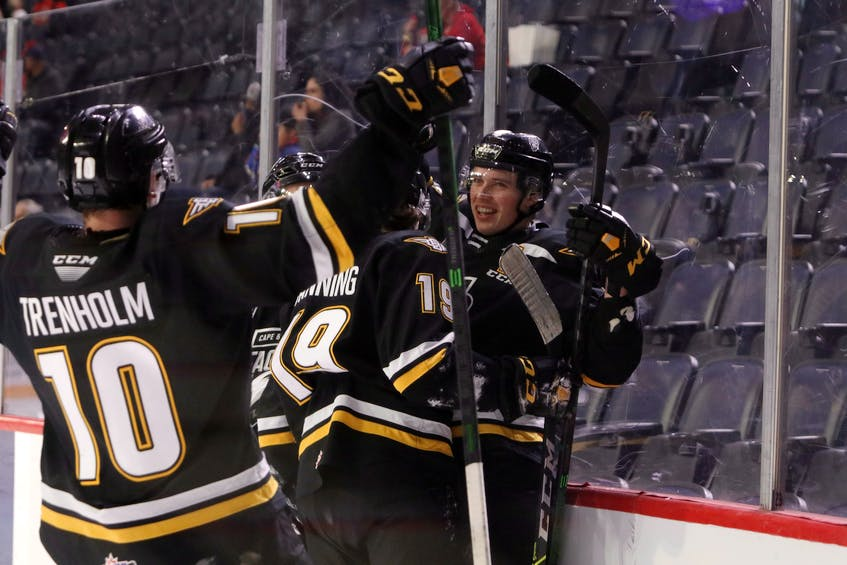 Members of the Cape Breton Eagles are shown celebrating after a goal last season. The team will open training camp on Tuesday in Glace Bay. ERIC WYNNE • SALTWIRE NETWORK - Eric Wynne
