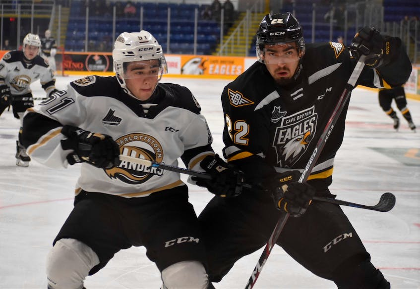Former Cape Breton Eagle Shawn Boudrias, right, will play for the ECHL's Fort Wayne Komets next season. JEREMY FRASER/CAPE BRETON POST. - Contributed