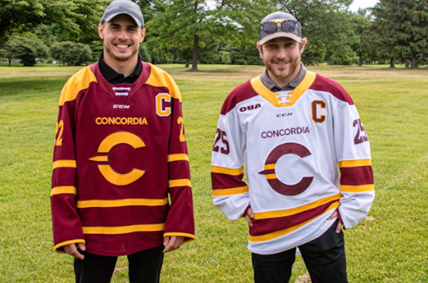 Former Cape Breton Eagle Phelix Martineau, left, will be the new captain for Concordia University next season. PHOTO CONTRIBUTED. - Contributed