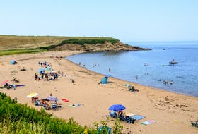 Beach-goers enjoy the warm weather on Saturday afternoon at Whale Cove Beach in Margaree, N.S. JESSICA SMITH/CAPE BRETON POST