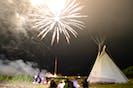 A crowd gathers to watch the fireworks Saturday night as part of the Eskasoni powwow. ARDELLE REYNOLDS/CAPE BRETON POST