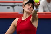 Rebecca Marino serves during her singles third-round match against Aryna Sabalenka of Belarus on Day Four of the National Bank Open on Aug. 12, 2021 in Montreal.