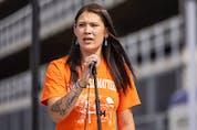 Indigenous artist Brandy Jones speaks during the event held on City Square Plaza on Saturday, Aug. 14, 2021 in Regina. TROY FLEECE / Regina Leader-Post