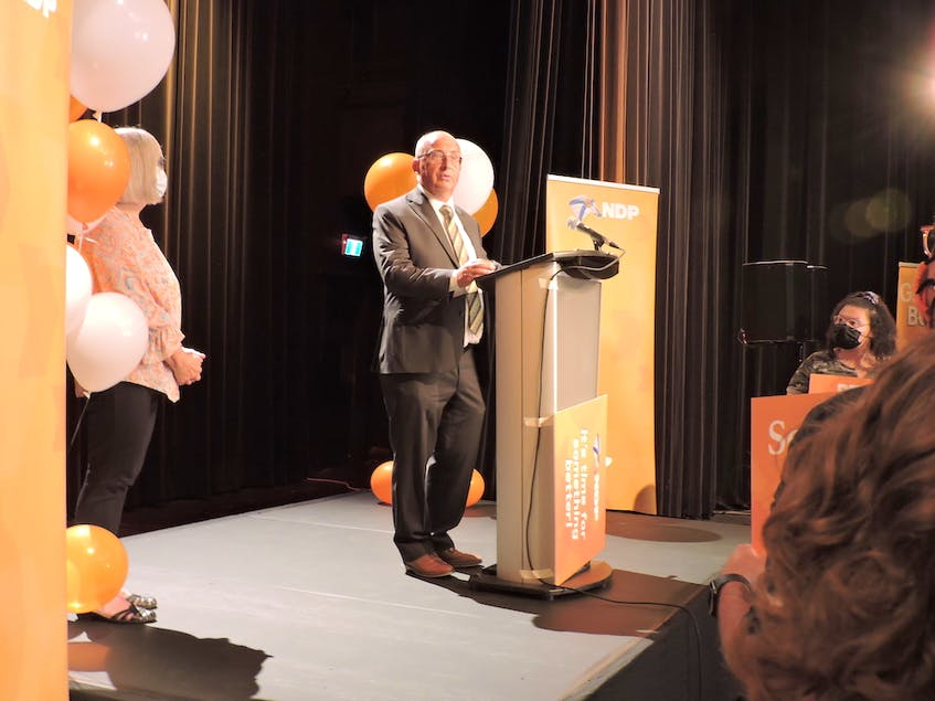 Nova Scotia NDP Leader Gary Burrill speaks to supporters at Alderney Landing in Dartmouth after being re-elected in his riding Halifax Chebucto, on Tuesday, Aug. 17, 2021. - Stephen Cooke