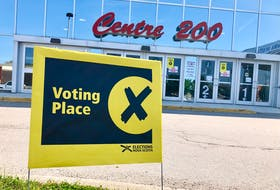 The sign indicating a voting station outside of Center 200 in Sydney, which had people trickling in and out slowly mid-morning election day. According to Elections Nova Scotia, 176,793 votes were cast before election day 2021, the 41st provincial election in Nova Scotia. In 2017, this number was 118,623. NICOLE SULLIVAN/CAPE BRETON POST