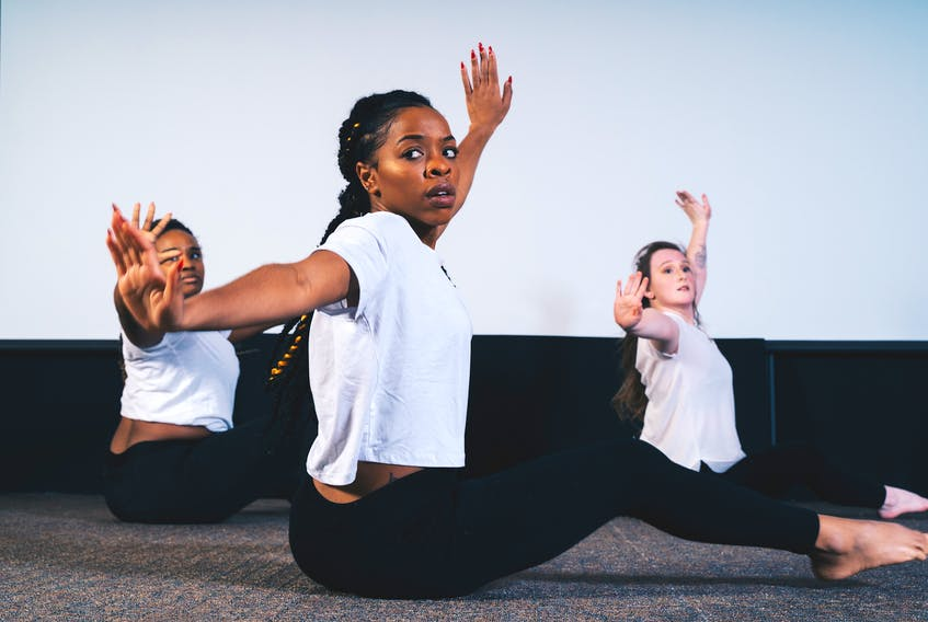 Reequal Smith (centre) with fellow Oshun Dance members performing 'Energy' - a dance performance coming to the Kings Playhouse in Georgetown on Saturday, Aug. 21.