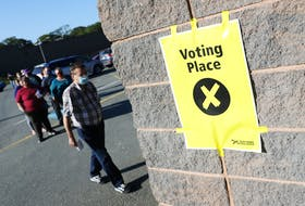 FOR NEWS STORY Voters queue at a voting center at City Church in Spryfield, on election day evening Tuesday August 17,, 2021.  TIM KROCHAK PHOTO