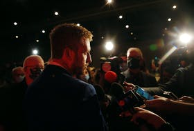 FOR NEWS STORY Liberal leader Iain Rankin, speaks with reporters after the Liberal party's defeat at the hands of the Progressive Conservatives,  at Liberal HQ on election night in Halifax Tuesday August 17,, 2021.  TIM KROCHAK PHOTO