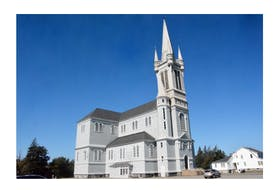 The Église Sainte-Marie church has had a presence in Church Point, Digby County, since the early 1900s but the future of the structure is in doubt. TINA COMEAU • TRICOUNTY VANGUARD